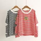 Long-sleeve Striped Cutout Top