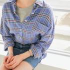 Drop-shoulder Oversized Plaid Shirt