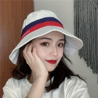 Lettering Striped Bucket Hat