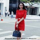 Elbow-sleeve Crochet Lace Dress