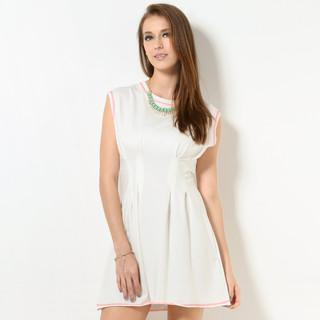 Stitched Pleated Jersey Dress White - One Size