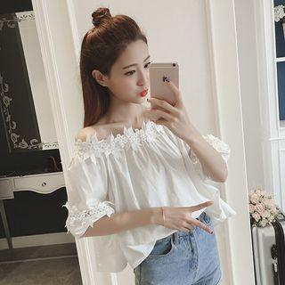Lace Panel Off-shoulder Short-sleeve Top