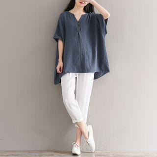 Elbow-sleeve Linen Top As Shown In Figure - One Size