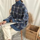 Turtle Neck Pattern Knit Top