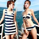 Set: Stripe Bikini + Swimskirt / Stripe Tank Top