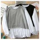 Set: Long-sleeve Distressed T-shirt + Sleeveless Top