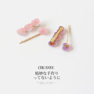 Set: Gummy Heart Hair Pin + Hair Clip
