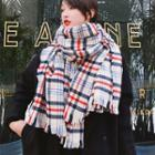 Plaid Fringed Scarf Beige - One Size