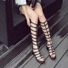 Block Heel Cutout Tall Boots