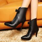 Genuine Leather Bow High-heel Ankle Boots