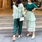 Midi Layered Skirt / Ruffle Blouse / Plain Camisole Top / Set