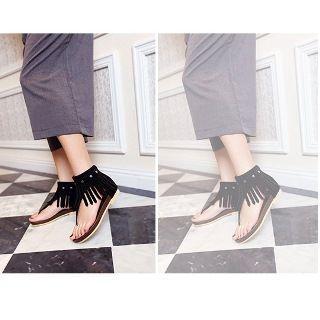 Faux-suede Tasseled Flat Sandals