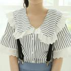 Laced Striped Capelet Blouse