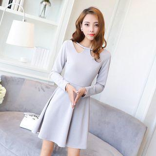 Cut Out Neckline Long Sleeve A-line Dress
