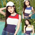 Color Block Sleeveless Knit Top