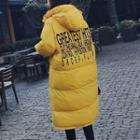 Hooded Padded Lettering Coat
