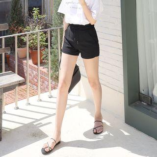 Drawstring-waist Patch-pocket Shorts
