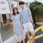 Couple Matching Set: Short-sleeve T-shirt + Shorts / Set: Short-sleeve T-shirt Dress + Lace Dress