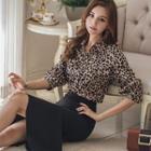 Set: Leopard Shirt + Frilled Pencil Skirt