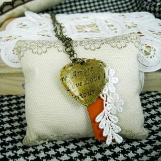 Copper Bonjour Heart Necklace