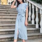 Pinstriped Ruffle Sleeveless Midi Dress