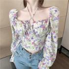 Floral Print Chiffon Blouse Floral Print - White - One Size
