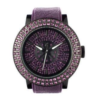 Diamond Lens Glass Purple Strap Watch