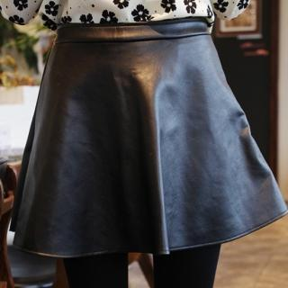 Faux-leather A-line Miniskirt