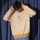Deer Embroidered Stripe Sweater