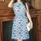 Sleeveless Embroidered Ruffled Dress