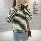 Turtleneck Lettering Striped Sweater