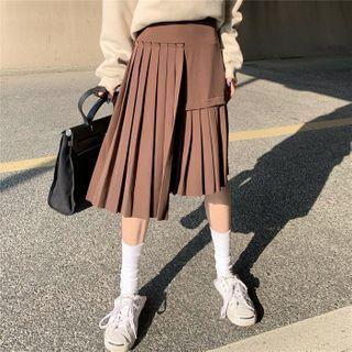 High-waist Pleated Asymmetric Plain Skirt