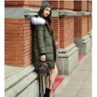 Hooded Printed Padded Long Jacket