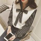 Mock Two-piece Long-sleeve Striped Blouse