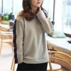 Plaid Frill-trim Pullover