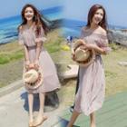 Short-sleeve Polka Dot Off-shoulder A-line Dress