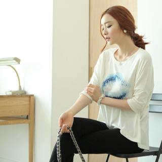 3/4-sleeve Printed Top