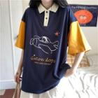 Contrast Color Printed Short-sleeve Polo Shirt