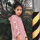 Striped Hooded Short-sleeve T-shirt Dress