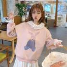 Mock Two-piece Rabbit Print Pullover Pink - One Size