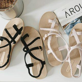 Banded-strap Faux-suede Strappy Sandals