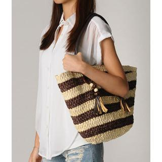 Striped Straw Tote Coffee - One Size