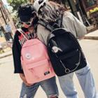 Chain Strap Detail Canvas Backpack