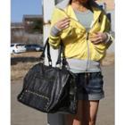 Faux Leather Studded Shoulder Bag