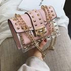 Set: Faux Leather Studded Crossbody Bag + Pouch