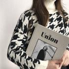 High-neck Houndstooth Wool Blend Sweater
