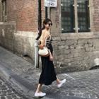 Textured Long Flare Skirt