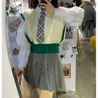 Color-block Knit Vest Vest - One Size