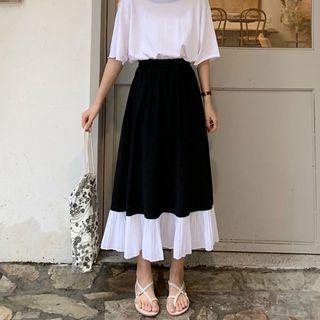 Ruffle Hem Midi Skirt Black - One Size