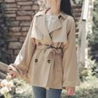 Plain Double-breasted Belted Trench Jacket